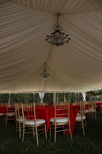Chandelier and Ivory Tent Liner
