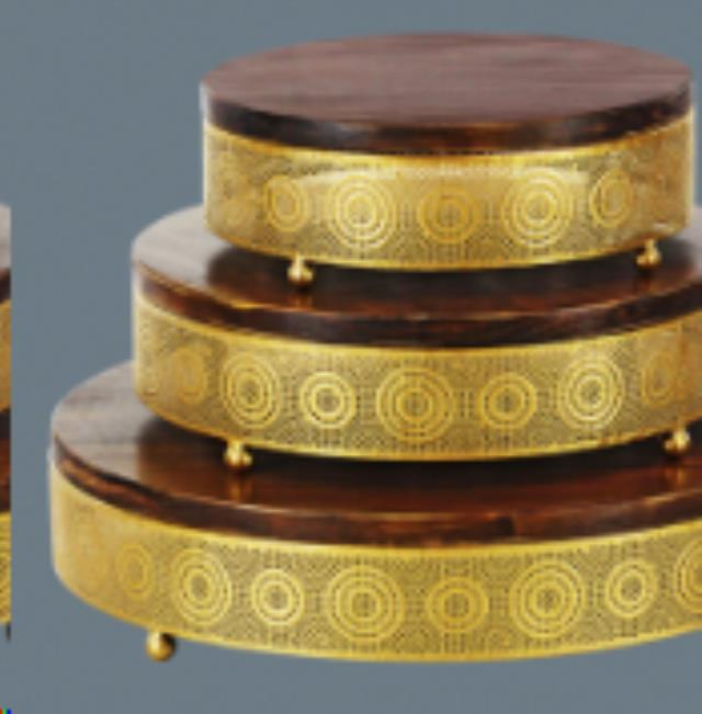 Where to find CAKE STAND 12  WOOD   GOLD ROUND in Cornelius