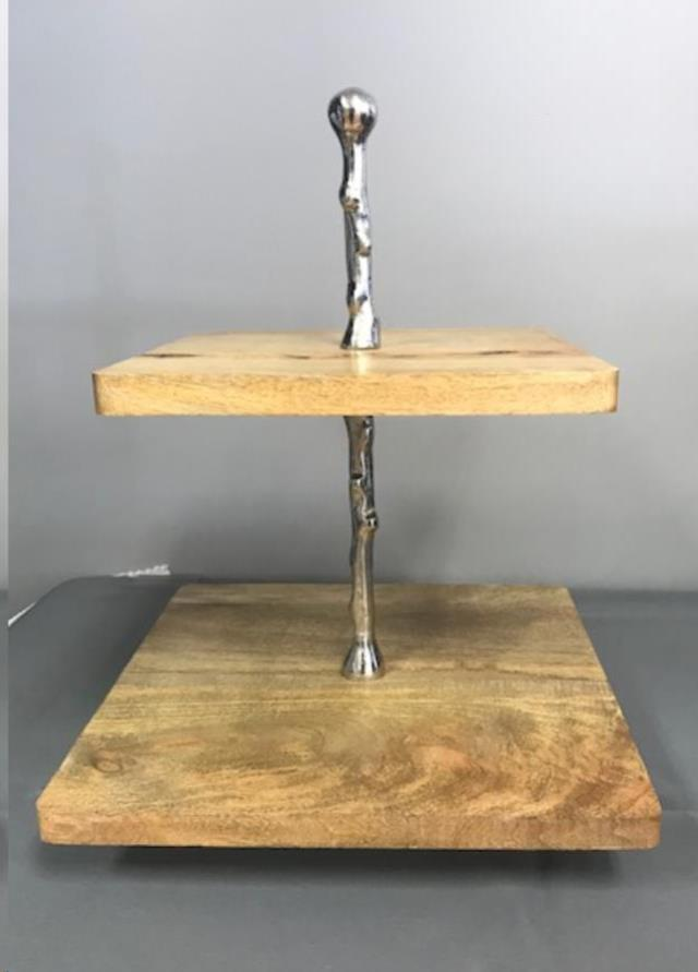 Where to find 2 TIER WOODEN SILVER SERVER SQUARE in Cornelius