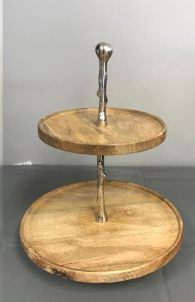 Where to find 2 TIER WOODEN SILVER SERVER ROUND in Cornelius